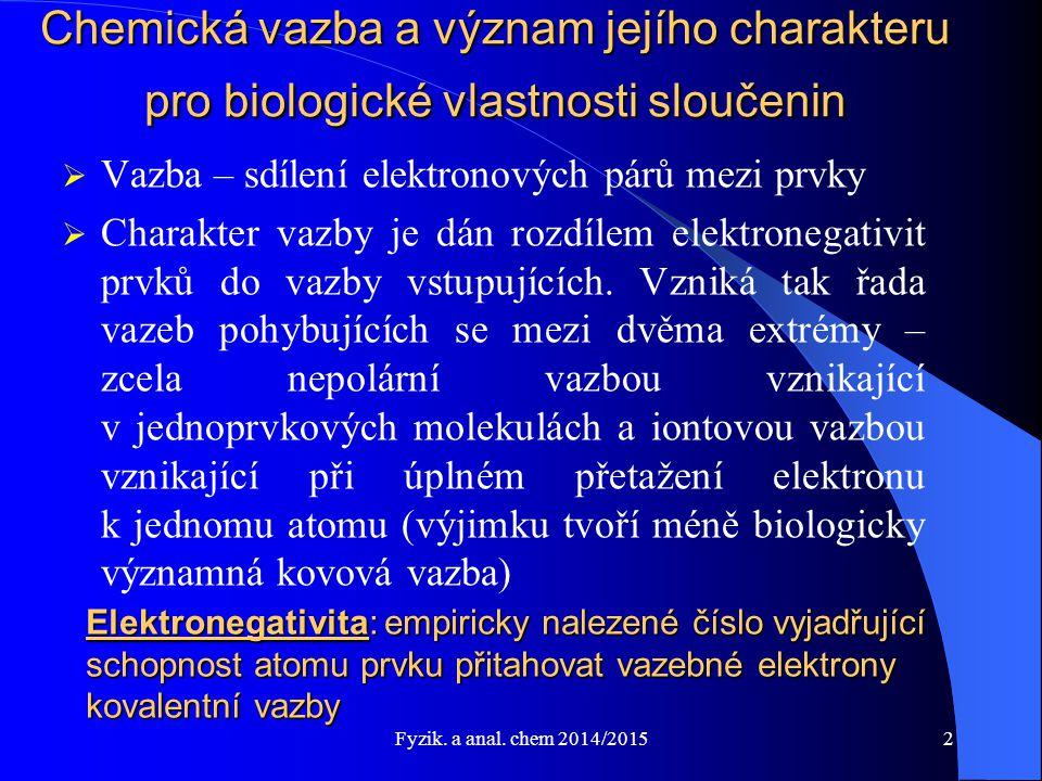 Fyzik.a anal. chem 2014/2015 Voda – vlastnosti I.