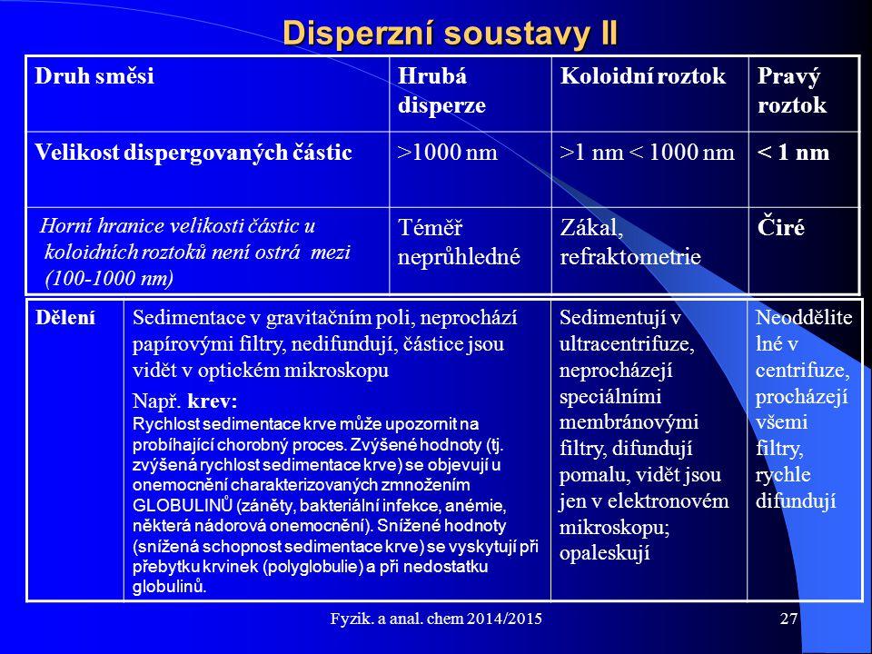 Fyzik. a anal. chem 2014/2015 Disperzní soustavy II Druh směsiHrubá disperze Koloidní roztokPravý roztok Velikost dispergovaných částic>1000 nm>1 nm <