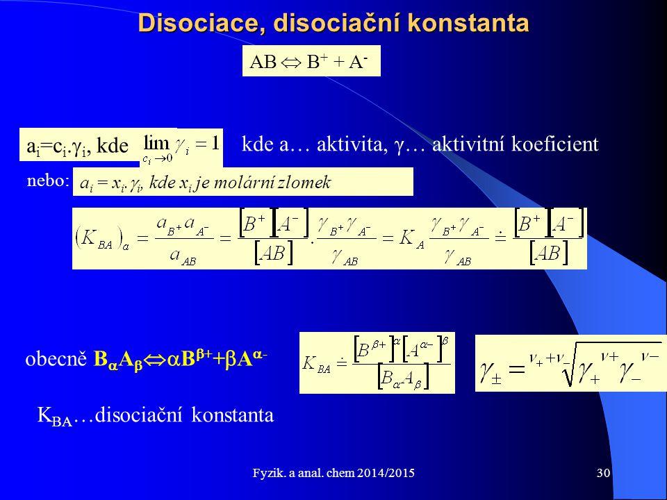 Fyzik. a anal. chem 2014/2015 Disociace, disociační konstanta AB  B + + A - obecně B  A   B  + +  A  - K BA …disociační konstanta a i =c i. 