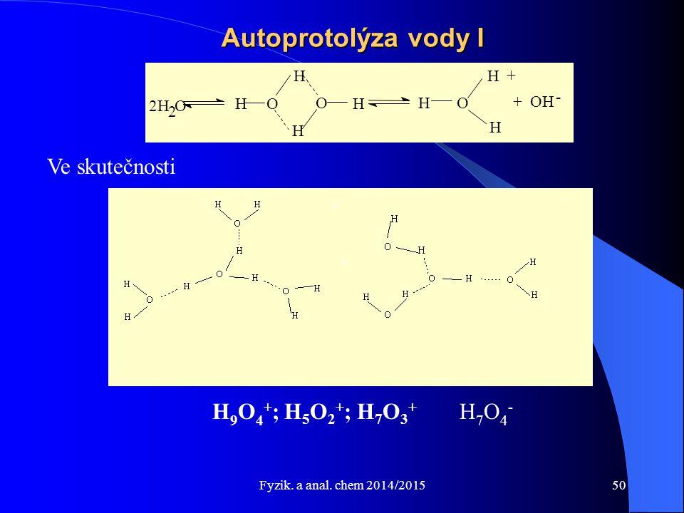 Fyzik. a anal. chem 2014/2015 Autoprotolýza vody I 2H 2 O HO H H O H HO + OH - H H Ve skutečnosti H 9 O 4 + ; H 5 O 2 + ; H 7 O 3 + H 7 O 4 - + - + +