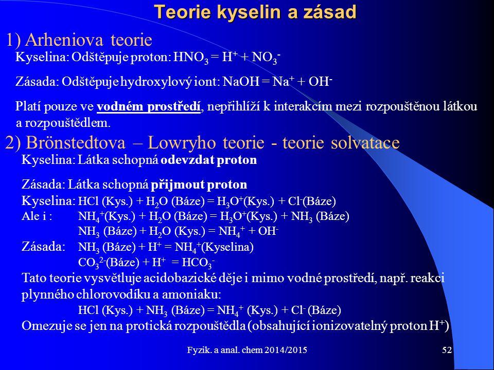 Fyzik. a anal. chem 2014/2015 Teorie kyselin a zásad 1) Arheniova teorie Kyselina: Odštěpuje proton: HNO 3 = H + + NO 3 - Zásada: Odštěpuje hydroxylov