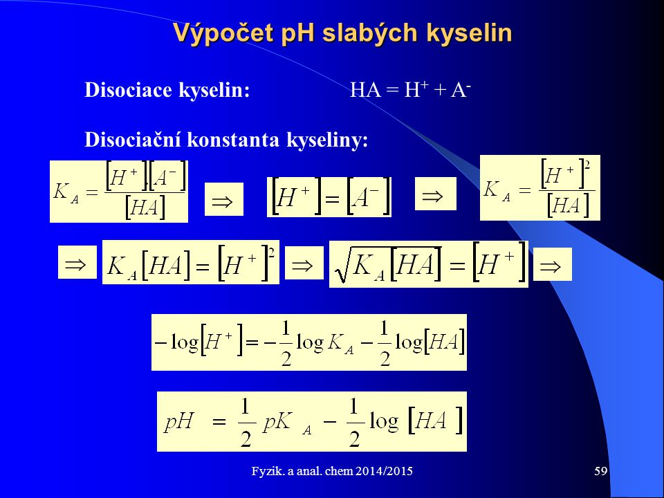 Fyzik. a anal. chem 2014/2015 Výpočet pH slabých kyselin Disociace kyselin:HA = H + + A - Disociační konstanta kyseliny:     59