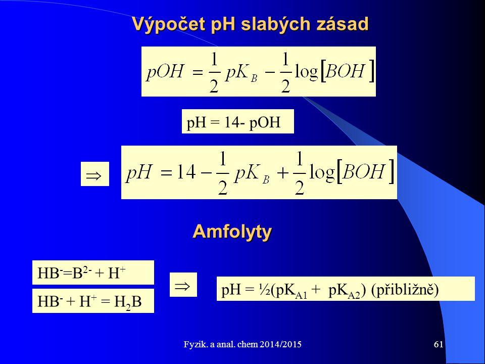 Fyzik. a anal. chem 2014/2015 Výpočet pH slabých zásad  pH = 14- pOH Amfolyty HB - =B 2- + H + HB - + H + = H 2 B pH = ½(pK A1 + pK A2 ) (přibližně)