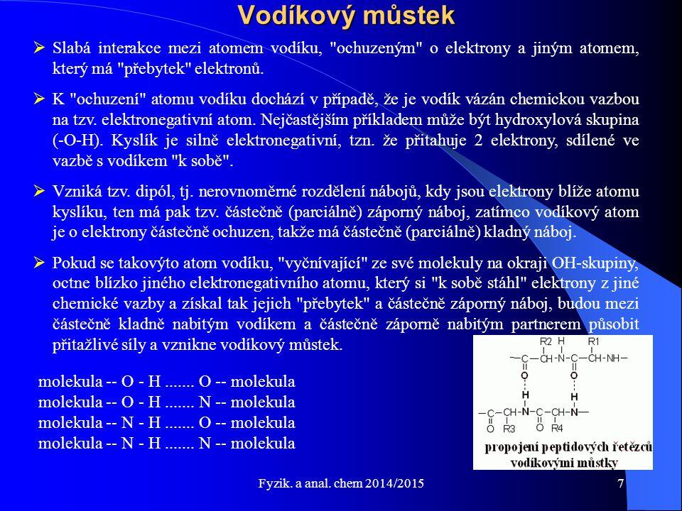 Fyzik.a anal. chem 2014/2015 Výměna tepla - 1 kg vody 1.