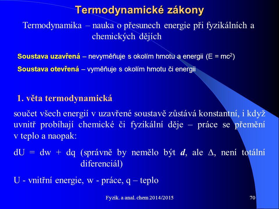 Fyzik. a anal. chem 2014/2015 Termodynamické zákony Termodynamika – nauka o přesunech energie při fyzikálních a chemických dějích 1. věta termodynamic