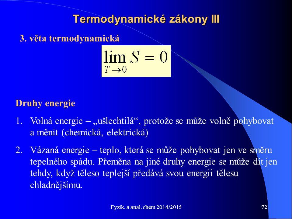 """Fyzik. a anal. chem 2014/2015 Termodynamické zákony III 3. věta termodynamická Druhy energie 1.Volná energie – """"ušlechtilá"""", protože se může volně poh"""