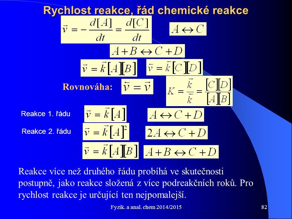 Fyzik. a anal. chem 2014/2015 Rychlost reakce, řád chemické reakce Rovnováha: Reakce více než druhého řádu probíhá ve skutečnosti postupně, jako reakc