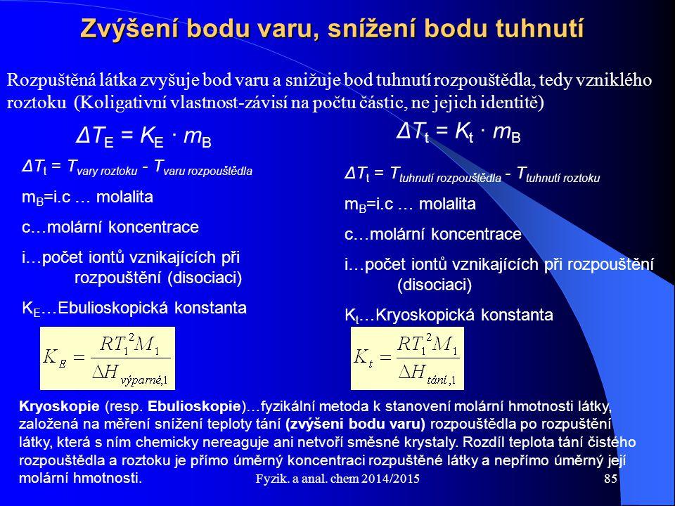 Fyzik. a anal. chem 2014/2015 Zvýšení bodu varu, snížení bodu tuhnutí Rozpuštěná látka zvyšuje bod varu a snižuje bod tuhnutí rozpouštědla, tedy vznik