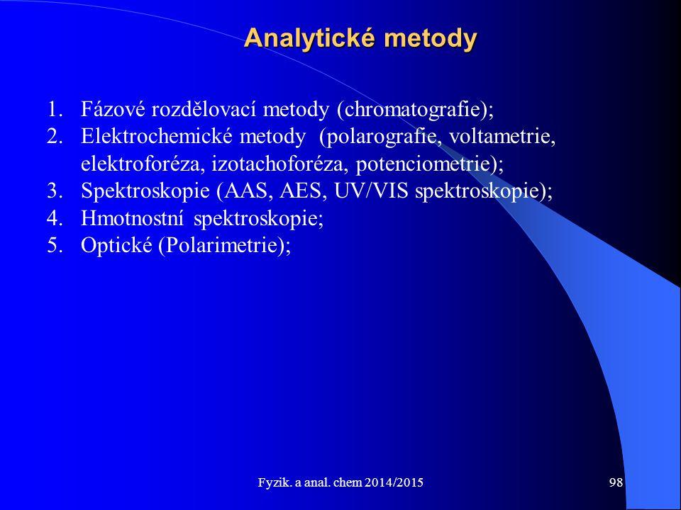 Fyzik. a anal. chem 2014/2015 Analytické metody 1.Fázové rozdělovací metody (chromatografie); 2.Elektrochemické metody (polarografie, voltametrie, ele