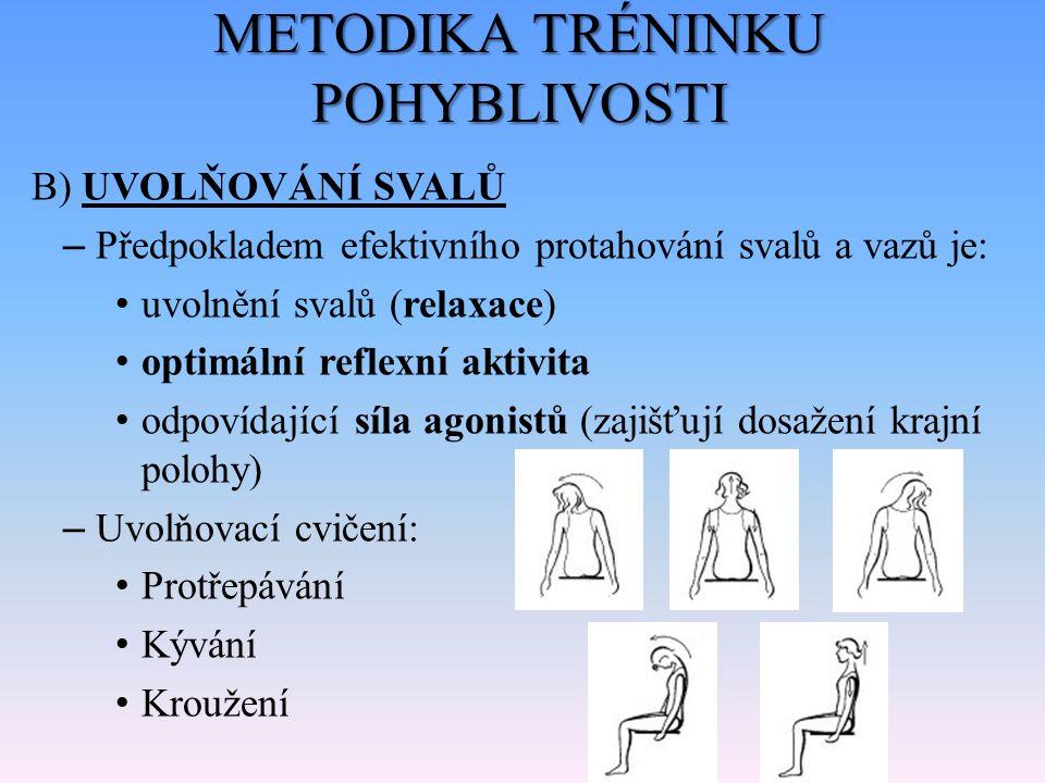METODIKA TRÉNINKU POHYBLIVOSTI B) UVOLŇOVÁNÍ SVALŮ – Předpokladem efektivního protahování svalů a vazů je: uvolnění svalů (relaxace) optimální reflexn