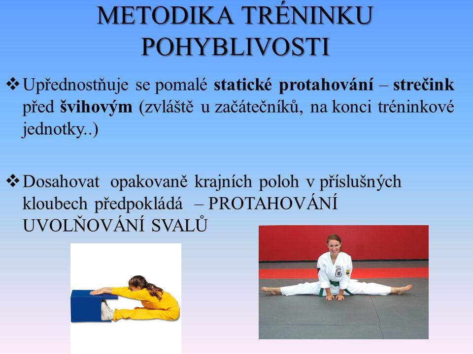 METODIKA TRÉNINKU POHYBLIVOSTI A) PROTAHOVÁNÍ SVALŮ – U odpočatých a koncentrovaných sportovců po dokonalém rozcvičení (prohřátí) – Při volbě metod protahování (druh, trvání, náročnost) vycházíme z: Stavby a funkcí podpůrně – pohybového aparátu Požadavků herního výkonu Individuálních specifik (stereotypy v držení těla, stav svalových skupin, mimo tréninková činnost)