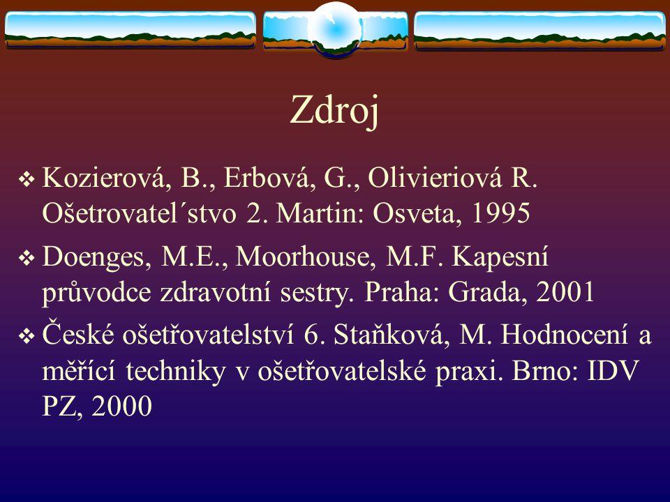 Zdroj  Kozierová, B., Erbová, G., Olivieriová R. Ošetrovatel´stvo 2. Martin: Osveta, 1995  Doenges, M.E., Moorhouse, M.F. Kapesní průvodce zdravotní
