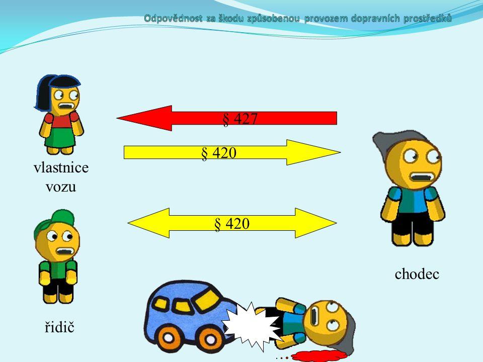vlastnice vozu řidič chodec § 427 § 420