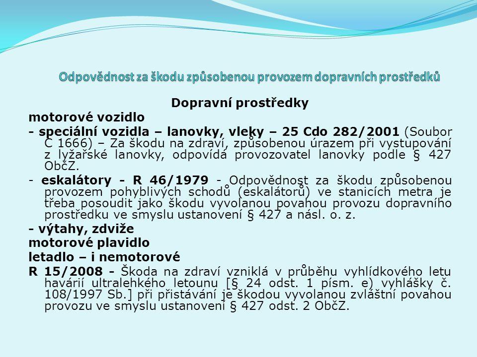 Dopravní prostředky motorové vozidlo - speciální vozidla – lanovky, vleky – 25 Cdo 282/2001 (Soubor C 1666) – Za škodu na zdraví, způsobenou úrazem při vystupování z lyžařské lanovky, odpovídá provozovatel lanovky podle § 427 ObčZ.
