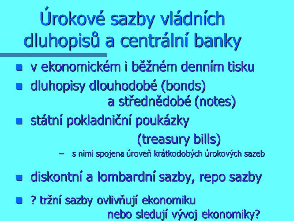 Úrokové sazby vládních dluhopisů a centrální banky n v ekonomickém i běžném denním tisku n dluhopisy dlouhodobé (bonds) a střednědobé (notes) n státní pokladniční poukázky (treasury bills) (treasury bills) – s nimi spojena úroveň krátkodobých úrokových sazeb n diskontní a lombardní sazby, repo sazby n .