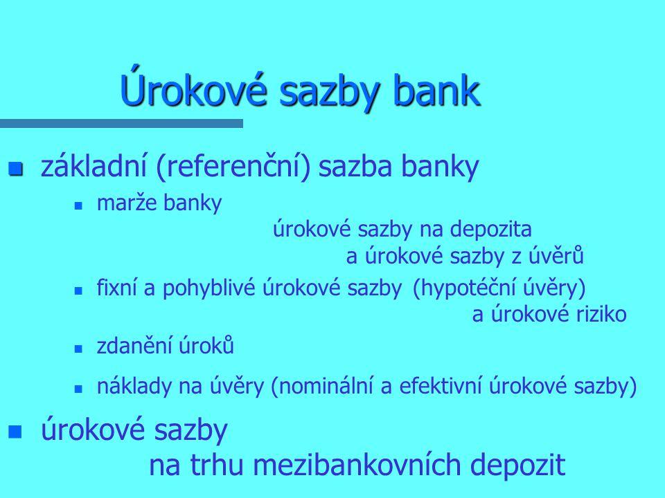Úrokové sazby bank n n základní (referenční) sazba banky n n marže banky úrokové sazby na depozita a úrokové sazby z úvěrů n n fixní a pohyblivé úrokové sazby (hypotéční úvěry) a úrokové riziko n n zdanění úroků n n náklady na úvěry (nominální a efektivní úrokové sazby) n n úrokové sazby na trhu mezibankovních depozit