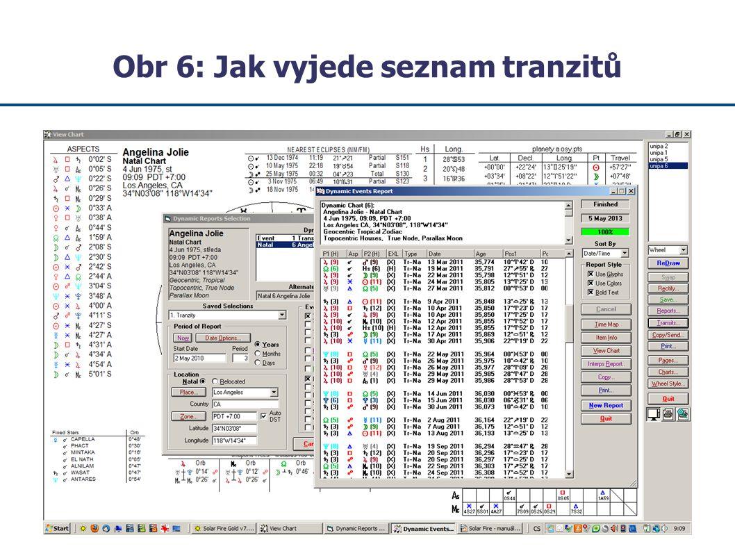 Obr 6: Jak vyjede seznam tranzitů