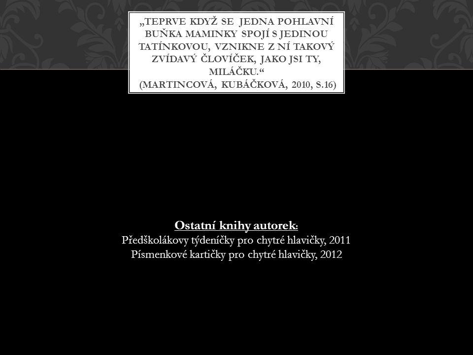 """Ostatní knihy autorek : Předškolákovy týdeníčky pro chytré hlavičky, 2011 Písmenkové kartičky pro chytré hlavičky, 2012 """"TEPRVE KDYŽ SE JEDNA POHLAVNÍ"""