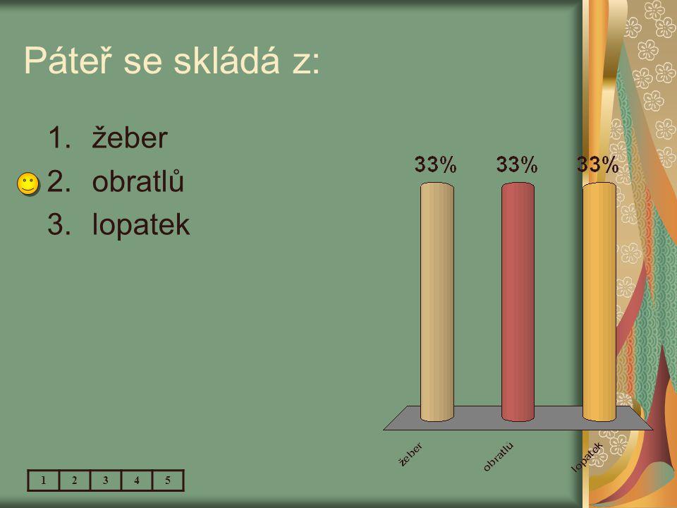 Páteř se skládá z: 12345 1.žeber 2.obratlů 3.lopatek