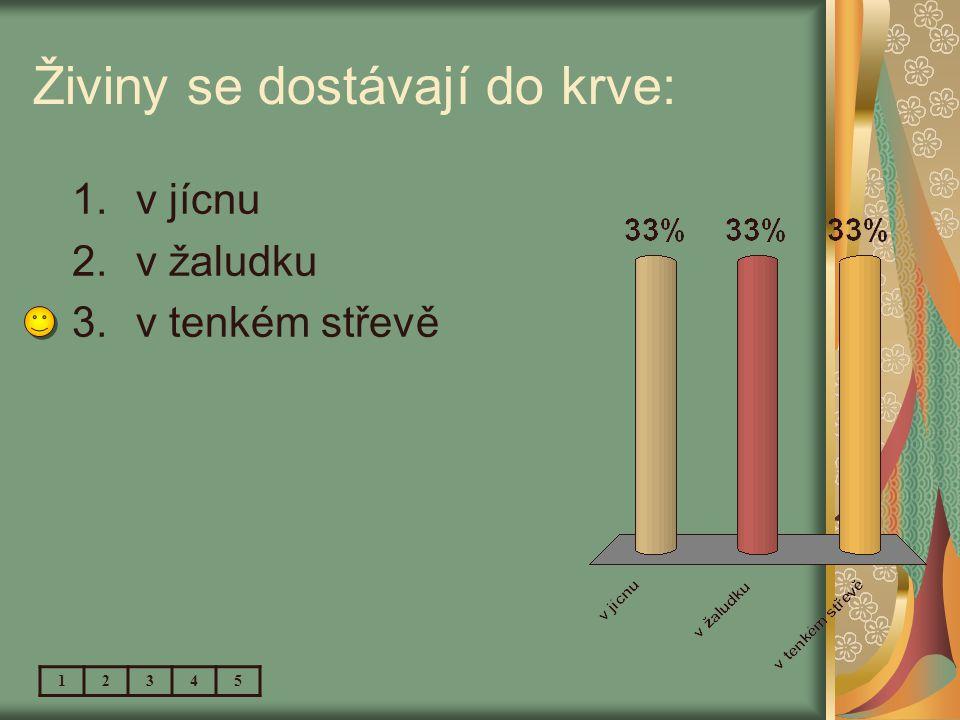 Do trávicí soustavy nepatří: 1.hrtan 2.tlusté střevo 3.konečník 12345