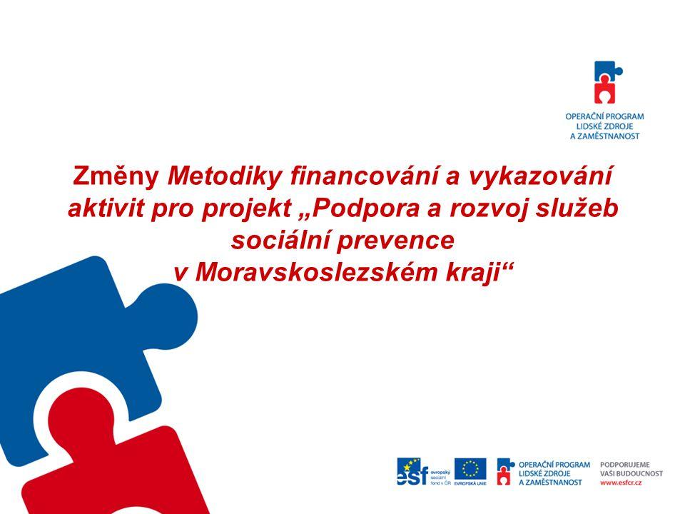 """Změny Metodiky financování a vykazování aktivit pro projekt """"Podpora a rozvoj služeb sociální prevence v Moravskoslezském kraji"""""""
