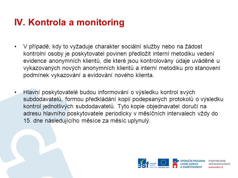 IV. Kontrola a monitoring V případě, kdy to vyžaduje charakter sociální služby nebo na žádost kontrolní osoby je poskytovatel povinen předložit intern