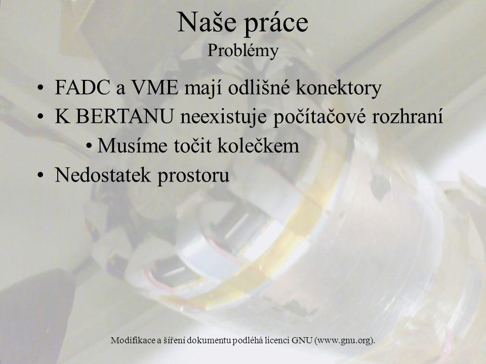 Modifikace a šíření dokumentu podléhá licenci GNU (www.gnu.org). FADC a VME mají odlišné konektory K BERTANU neexistuje počítačové rozhraní Musíme toč