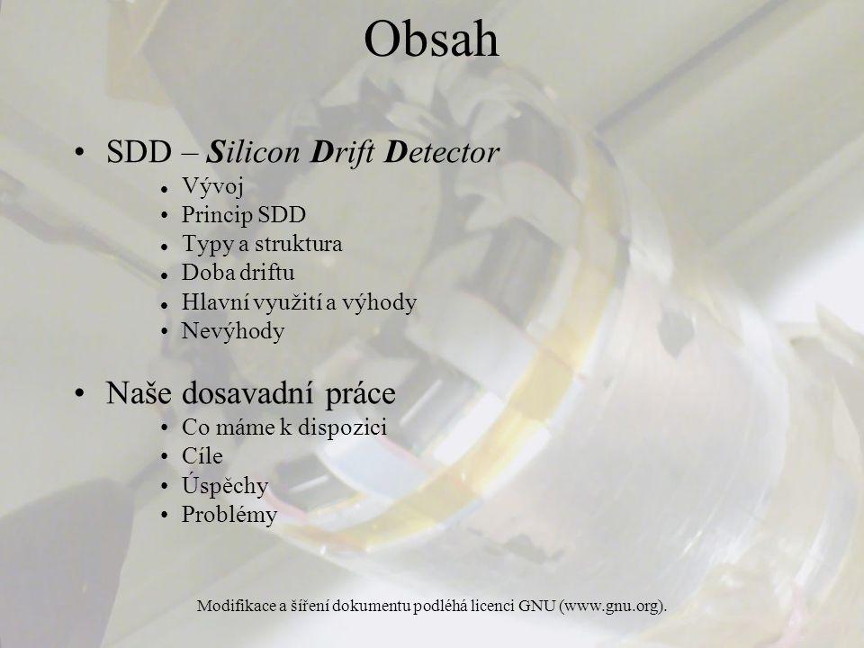 Modifikace a šíření dokumentu podléhá licenci GNU (www.gnu.org). Obsah SDD – Silicon Drift Detector Vývoj Princip SDD Typy a struktura Doba driftu Hla
