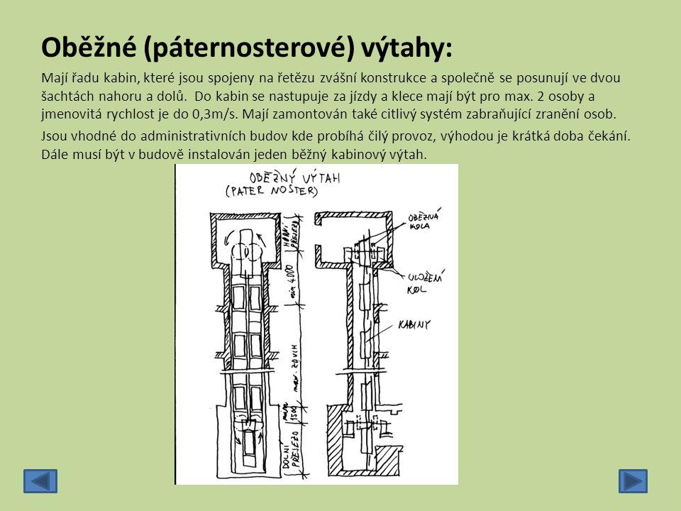 Oběžné (páternosterové) výtahy: Mají řadu kabin, které jsou spojeny na řetězu zvášní konstrukce a společně se posunují ve dvou šachtách nahoru a dolů.