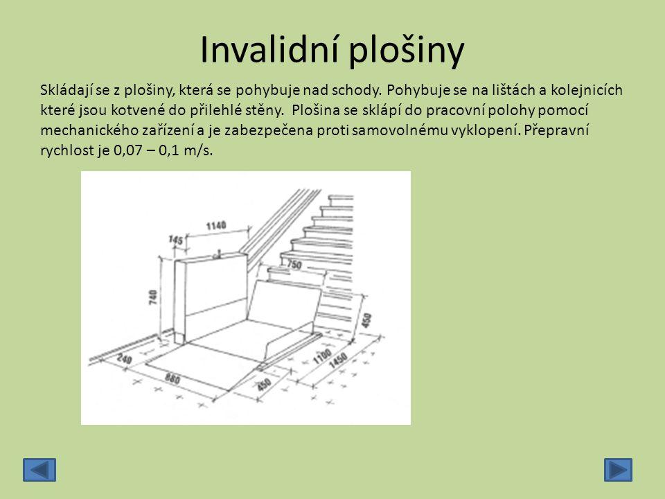 Invalidní plošiny Skládají se z plošiny, která se pohybuje nad schody. Pohybuje se na lištách a kolejnicích které jsou kotvené do přilehlé stěny. Ploš