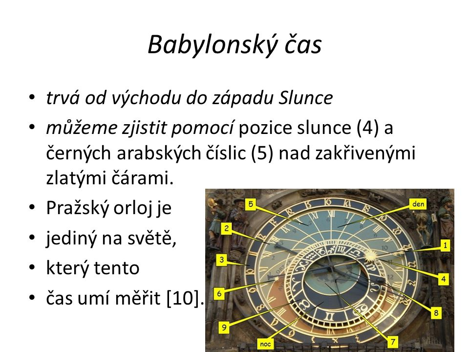 Babylonský čas trvá od východu do západu Slunce můžeme zjistit pomocí pozice slunce (4) a černých arabských číslic (5) nad zakřivenými zlatými čárami.