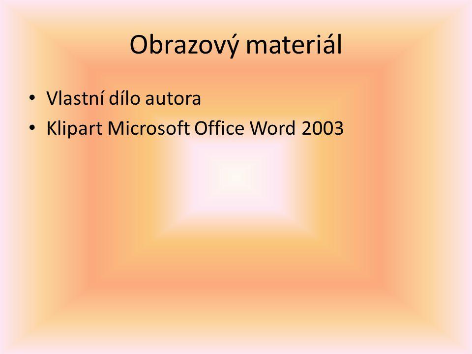 Obrazový materiál Vlastní dílo autora Klipart Microsoft Office Word 2003