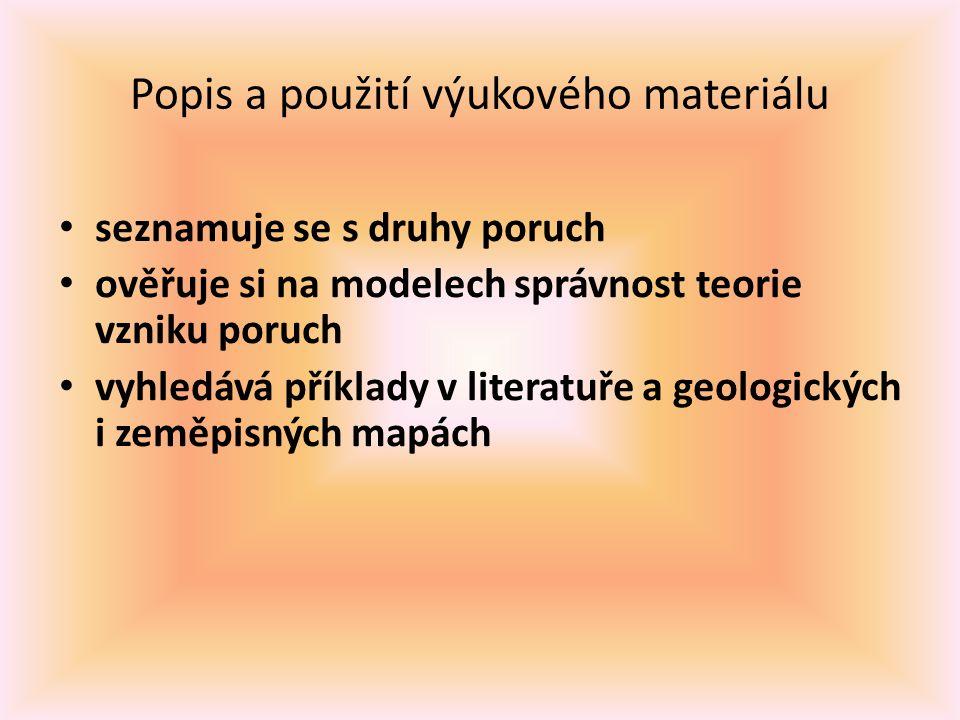 Popis a použití výukového materiálu seznamuje se s druhy poruch ověřuje si na modelech správnost teorie vzniku poruch vyhledává příklady v literatuře a geologických i zeměpisných mapách