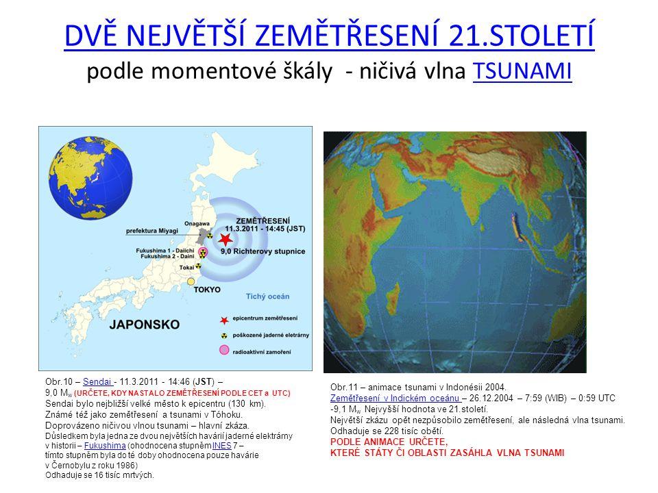 DVĚ NEJVĚTŠÍ ZEMĚTŘESENÍ 21.STOLETÍ DVĚ NEJVĚTŠÍ ZEMĚTŘESENÍ 21.STOLETÍ podle momentové škály - ničivá vlna TSUNAMITSUNAMI Obr.10 – Sendai - 11.3.2011