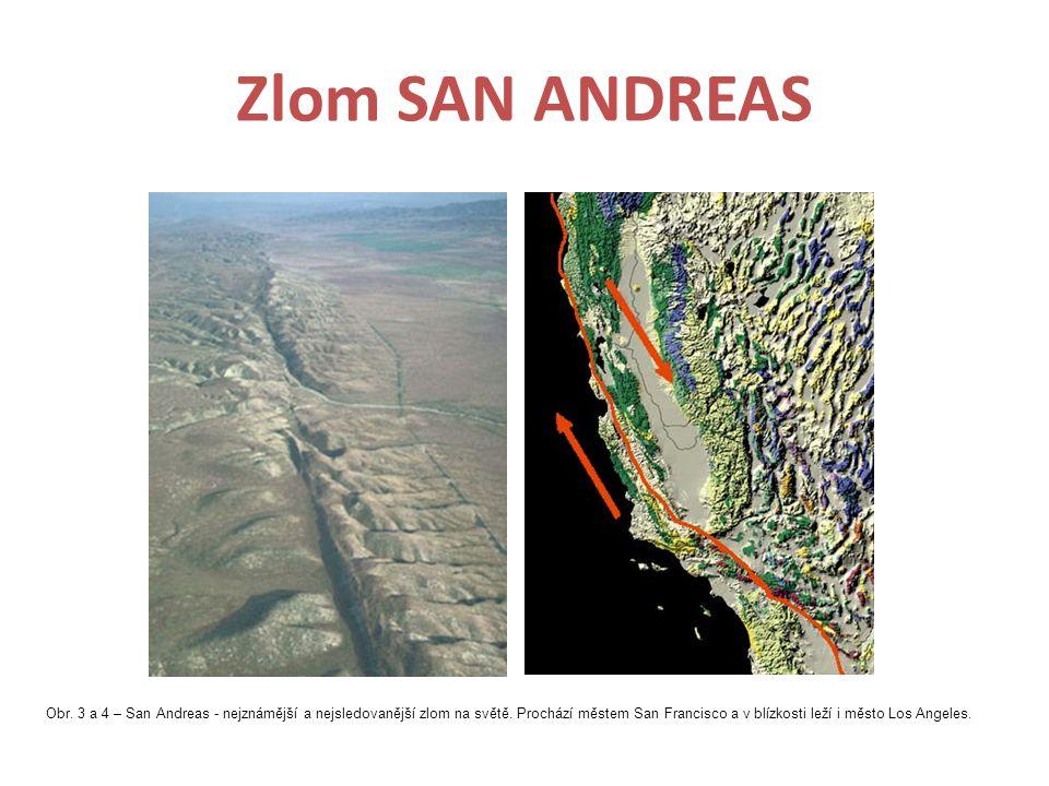 Zlom SAN ANDREAS Obr. 3 a 4 – San Andreas - nejznámější a nejsledovanější zlom na světě. Prochází městem San Francisco a v blízkosti leží i město Los