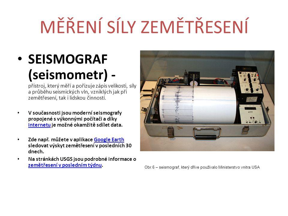 MĚŘENÍ SÍLY ZEMĚTŘESENÍ SEISMOGRAF (seismometr) - přístroj, který měří a pořizuje zápis velikosti, síly a průběhu seismických vln, vzniklých jak při z