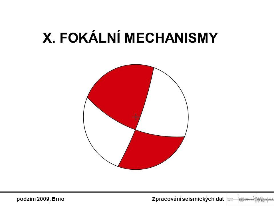 podzim 2009, Brno Zpracování seismických dat X. FOKÁLNÍ MECHANISMY