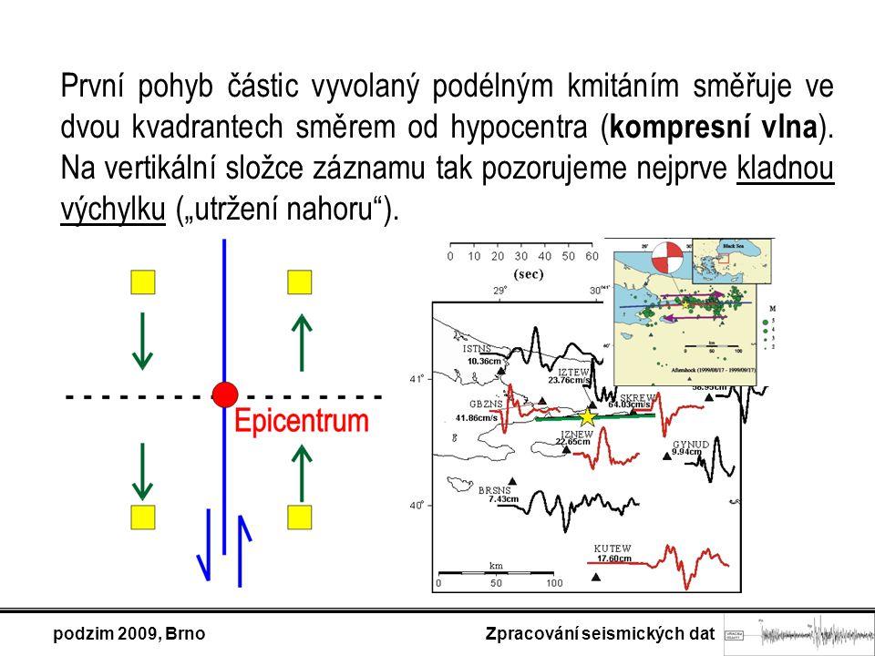 První pohyb částic vyvolaný podélným kmitáním směřuje ve dvou kvadrantech směrem od hypocentra ( kompresní vlna ). Na vertikální složce záznamu tak po