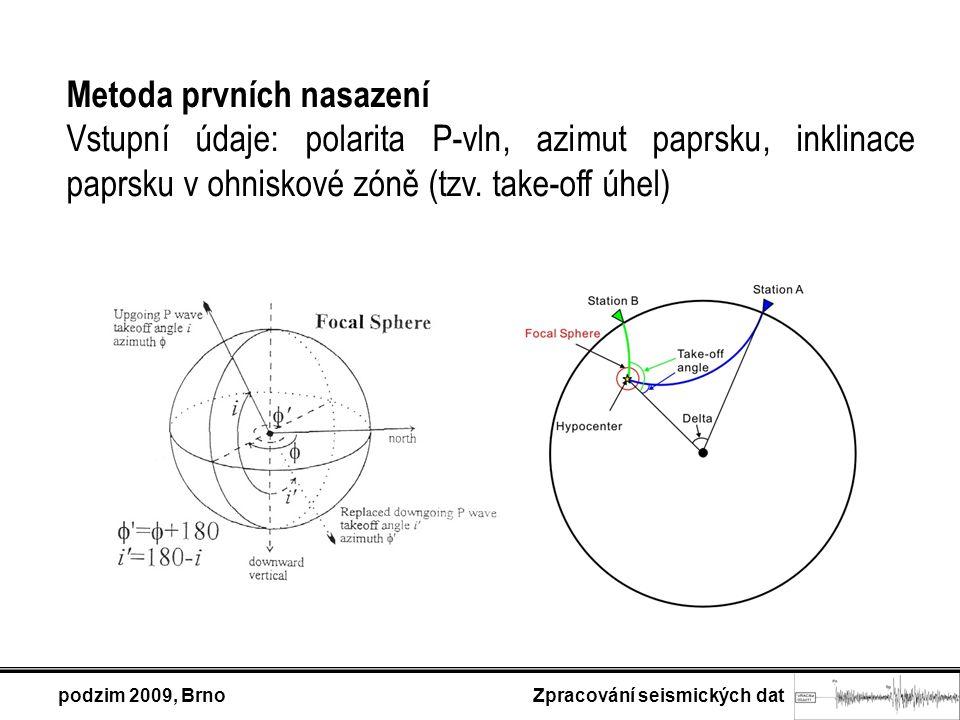 Metoda prvních nasazení Vstupní údaje: polarita P-vln, azimut paprsku, inklinace paprsku v ohniskové zóně (tzv. take-off úhel) podzim 2009, Brno Zprac