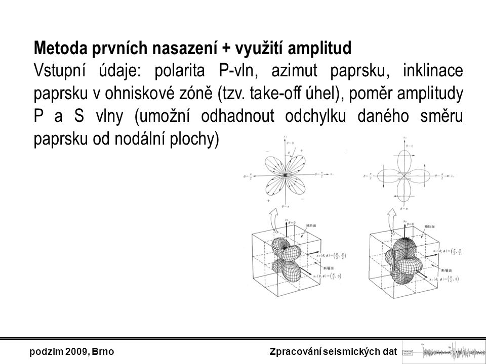 Metoda prvních nasazení + využití amplitud Vstupní údaje: polarita P-vln, azimut paprsku, inklinace paprsku v ohniskové zóně (tzv. take-off úhel), pom