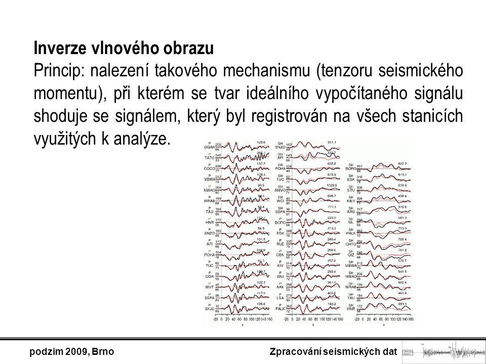 Inverze vlnového obrazu Princip: nalezení takového mechanismu (tenzoru seismického momentu), při kterém se tvar ideálního vypočítaného signálu shoduje