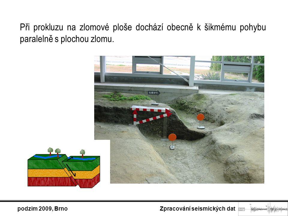 Při prokluzu na zlomové ploše dochází obecně k šikmému pohybu paralelně s plochou zlomu. podzim 2009, Brno Zpracování seismických dat