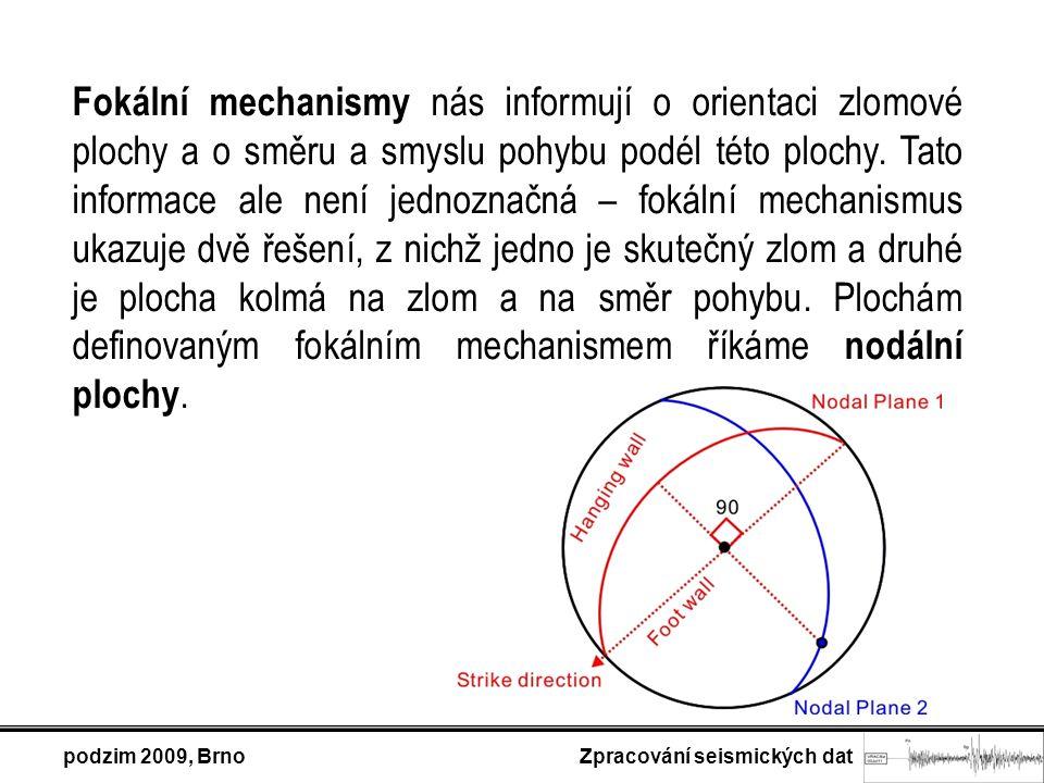 Fokální mechanismy nás informují o orientaci zlomové plochy a o směru a smyslu pohybu podél této plochy. Tato informace ale není jednoznačná – fokální