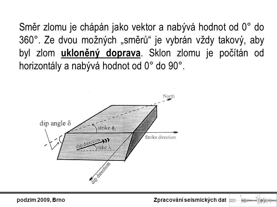 """Směr zlomu je chápán jako vektor a nabývá hodnot od 0° do 360°. Ze dvou možných """"směrů"""" je vybrán vždy takový, aby byl zlom ukloněný doprava. Sklon zl"""
