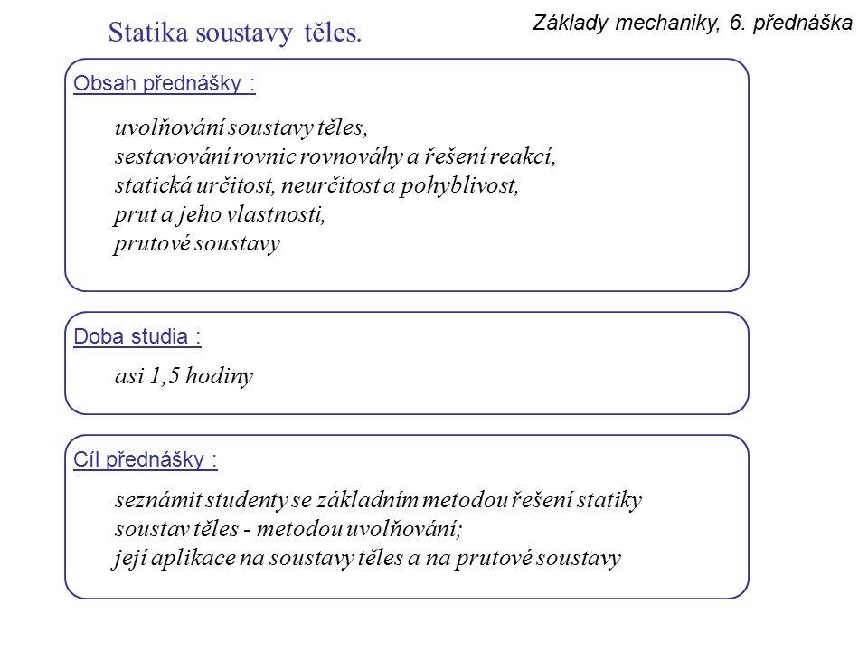 Základy mechaniky, 6.přednáška Statika soustavy těles.