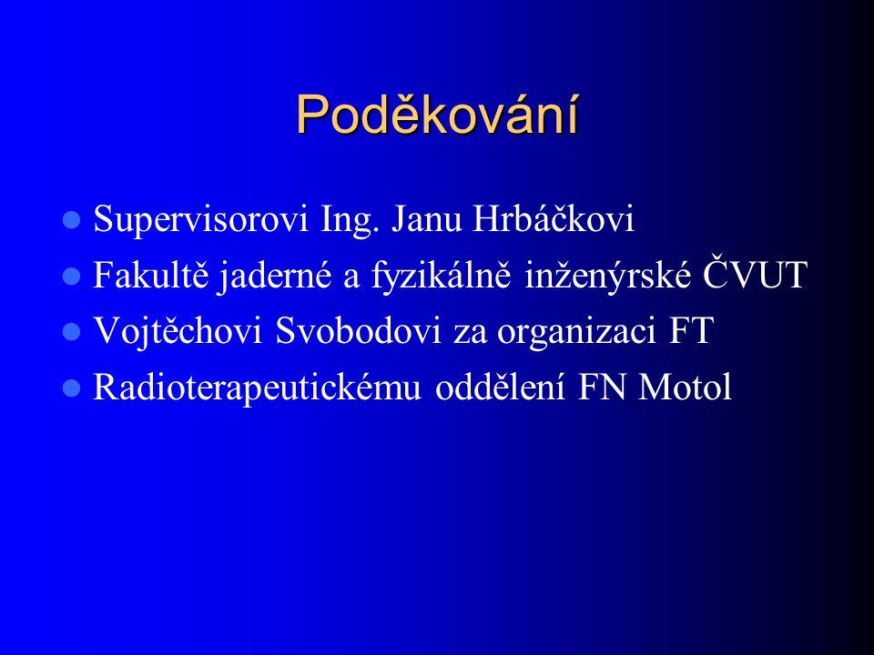Poděkování Supervisorovi Ing. Janu Hrbáčkovi Fakultě jaderné a fyzikálně inženýrské ČVUT Vojtěchovi Svobodovi za organizaci FT Radioterapeutickému odd