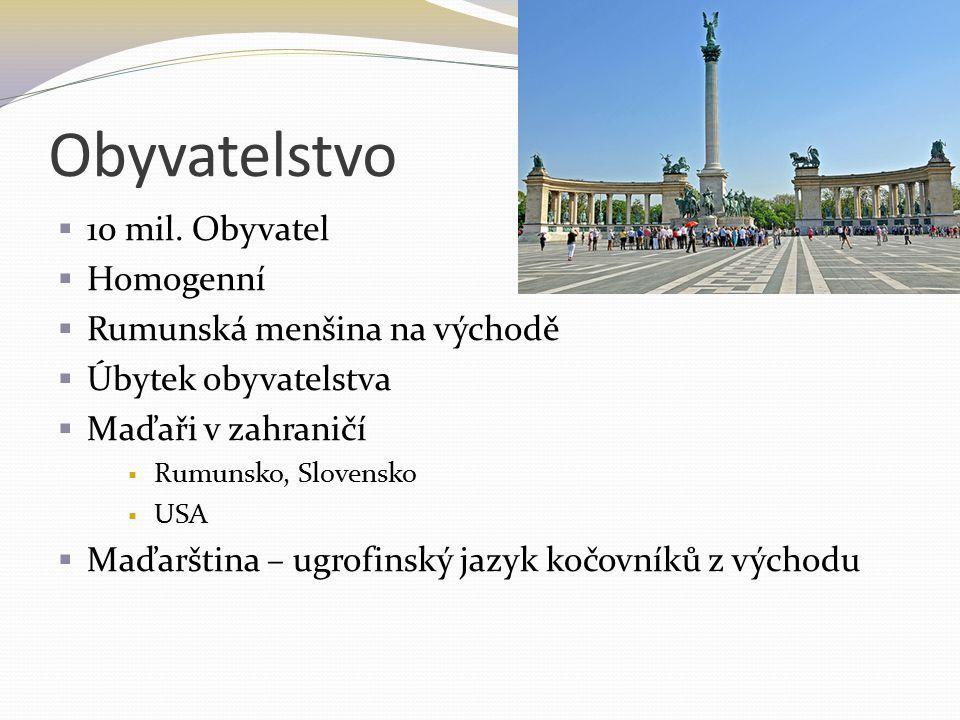 Obyvatelstvo  10 mil. Obyvatel  Homogenní  Rumunská menšina na východě  Úbytek obyvatelstva  Maďaři v zahraničí  Rumunsko, Slovensko  USA  Maď