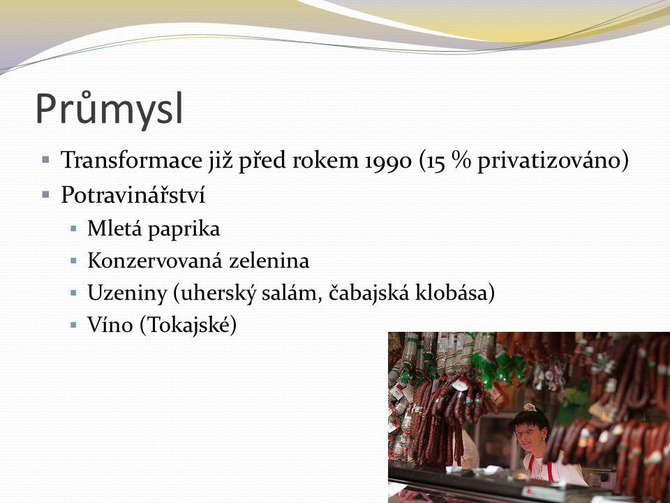 Průmysl  Transformace již před rokem 1990 (15 % privatizováno)  Potravinářství  Mletá paprika  Konzervovaná zelenina  Uzeniny (uherský salám, čab