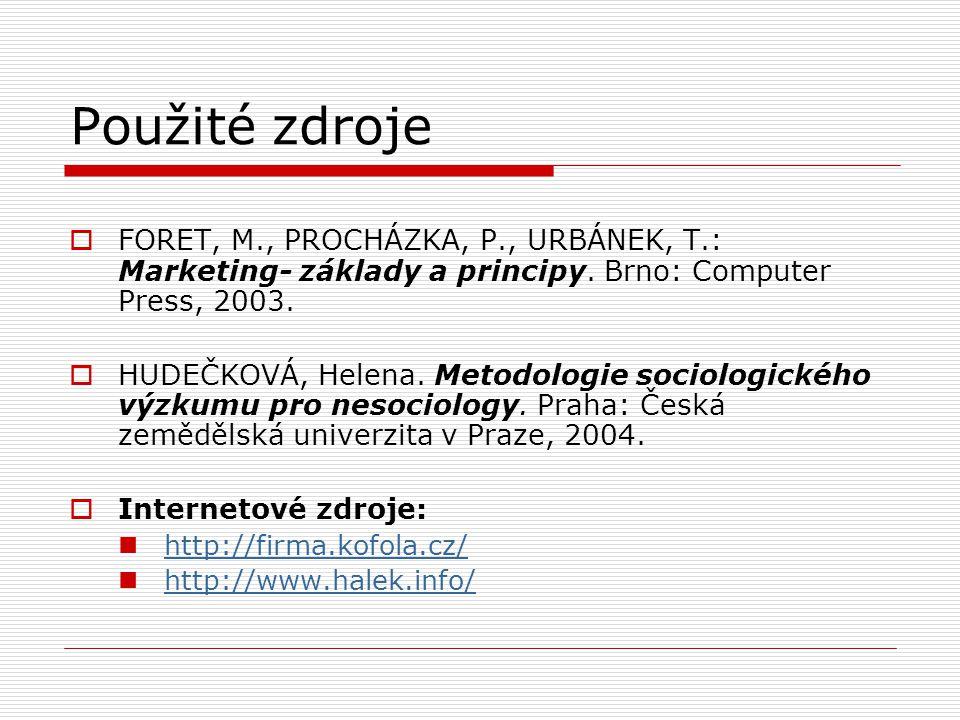 Použité zdroje  FORET, M., PROCHÁZKA, P., URBÁNEK, T.: Marketing- základy a principy. Brno: Computer Press, 2003.  HUDEČKOVÁ, Helena. Metodologie so