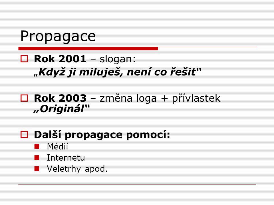 """Propagace  Rok 2001 – slogan: """"Když ji miluješ, není co řešit""""  Rok 2003 – změna loga + přívlastek """"Originál""""  Další propagace pomocí: Médií Intern"""